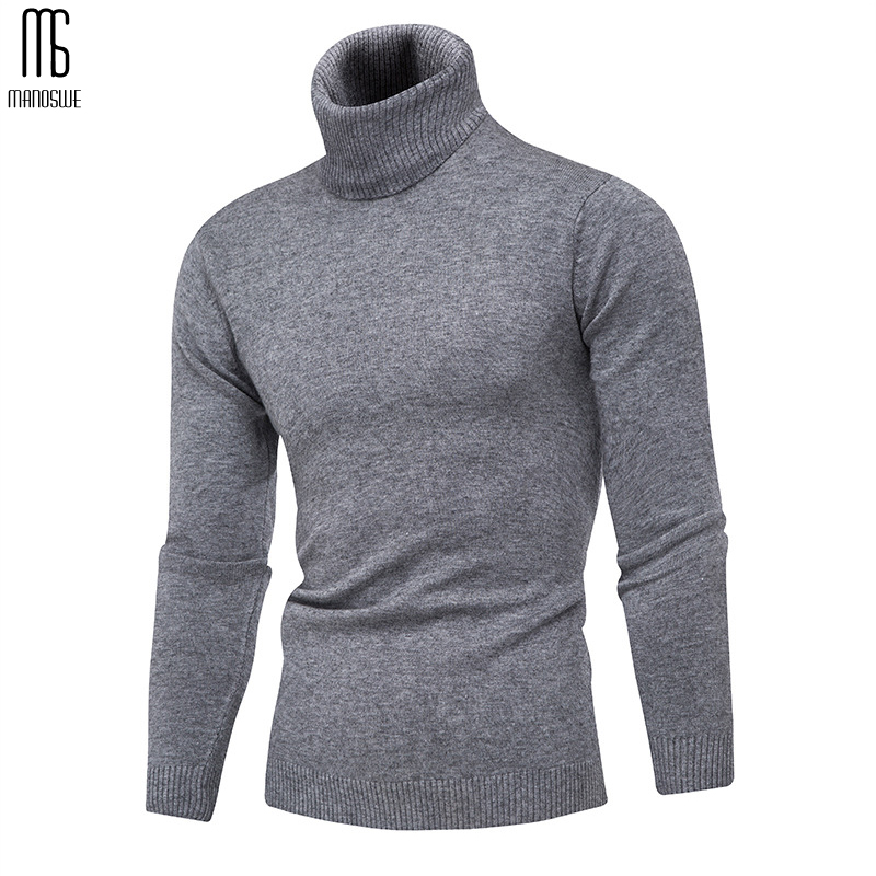 Manoswe Winter Man Sweater Knitting Pullovers Christmas Jumper Sweater Male Hot Fashion Casual Tops Men'S Turtleneck Solid Color