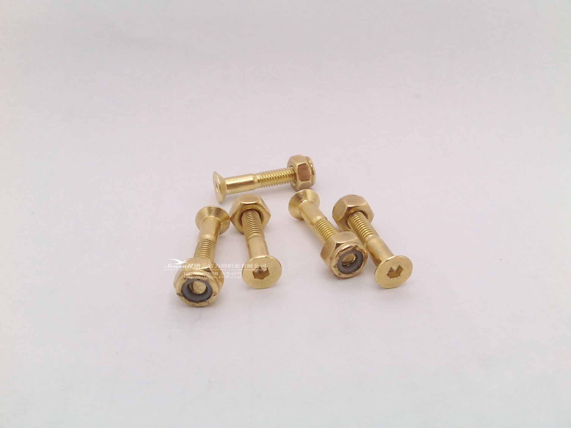Gold-Tone Salad Head Hexagon Socket Semi-Dental Bridges Nail Screw, Nut, Skateboard Accessory