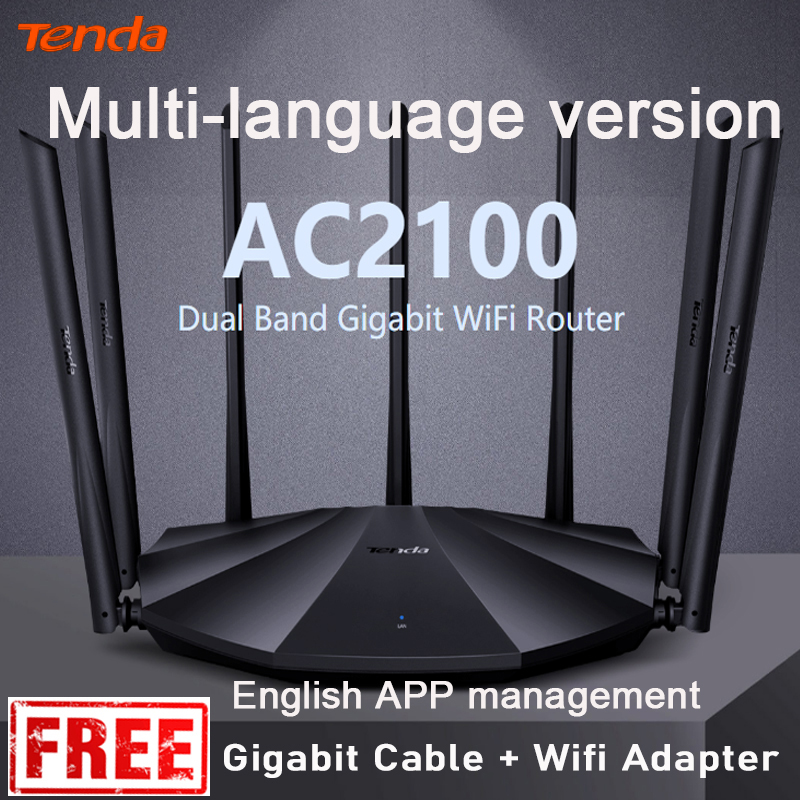 English interface Tenda AC23 AC2100M Wireless WiFi Router Support IPV6 Home Coverage Dual Band Wireless RouterApp Control VPN