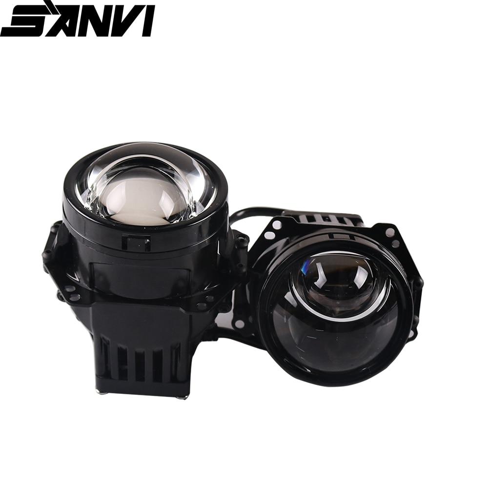 SANVI 3 Inch Auto Bi LED&Laser Projector Lens Headlight 52W 6000K Car LED Projector Lens Headlight For Car Light Retrofit Kits