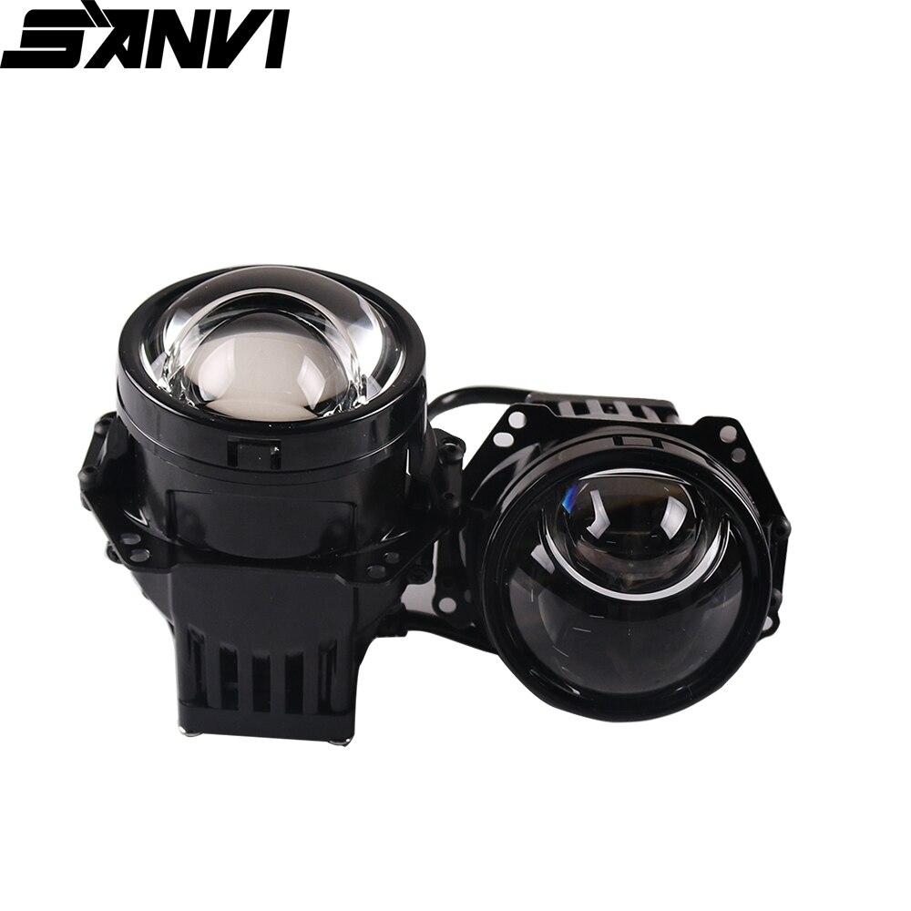SANVI 3 pouces Auto Bi LED et Laser projecteur lentille phare 52W 6000K voiture projecteur LED lentille phare pour Kits de modification de la lumière de voiture