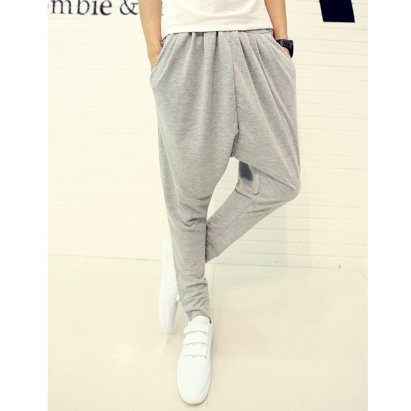 For 2016 Four Seasons Paragraph Men Harem Pants Back Rise Width Trousers Skinny Dance Master Pants Harem Pants