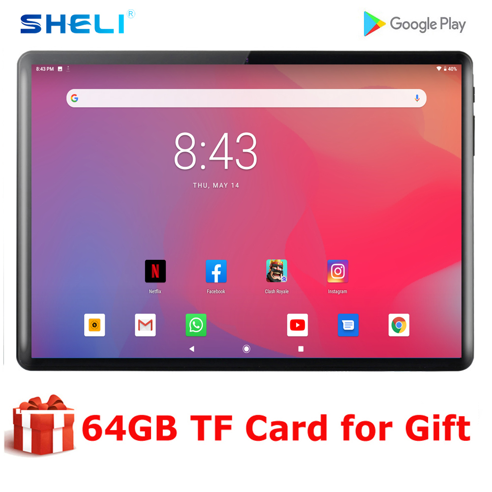 Fast Shipping 10 Inch 2.5D Glass Tablet IPS Large Screen Dual SIM Card Play Store/Netflix Wifi Tablets 10 10.1+Gifts