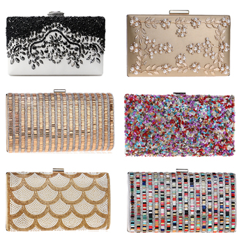 PU vintage women embroidery beaded evening bags diamonds clutch candy crystal wedding handbags for party female box case
