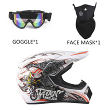 New Unique 3Pcs Motorcycle Helmet Full Face Racing Motorcycle Safety Breathable