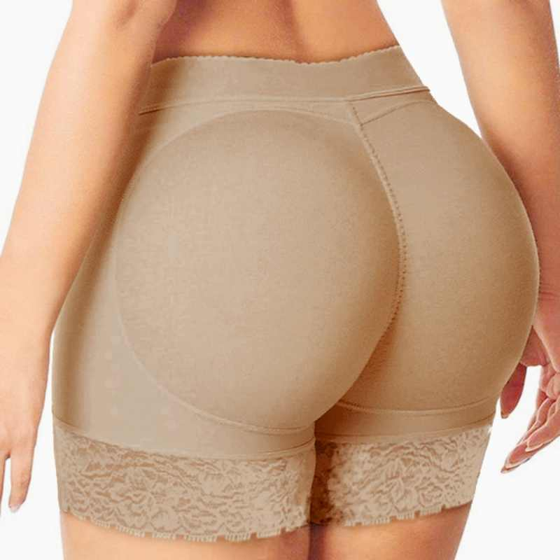 Women Shapewear Boyshort Push-Up Silicone Padded Hip Butt Panties,S