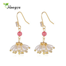 Hongye Flower Cluster Multi-Pearl Drop Earrings for Women Natural Fashion Pink Bead Girls Zircon Brincos Fine Jewelry Engagement