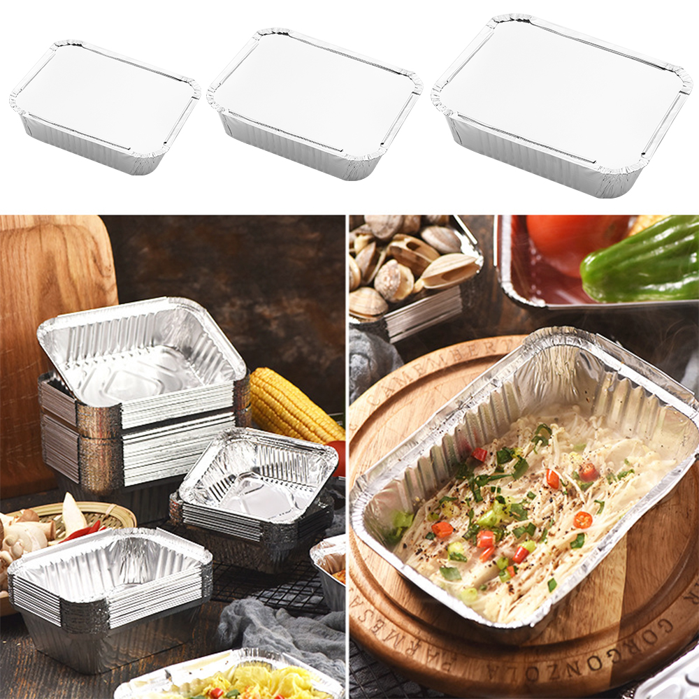 20PCS/Pack Disposable Takeout Pans Aluminum Foil Pan Containers Pans with Lids for Baking Storing Heating Cooking Grilling Food