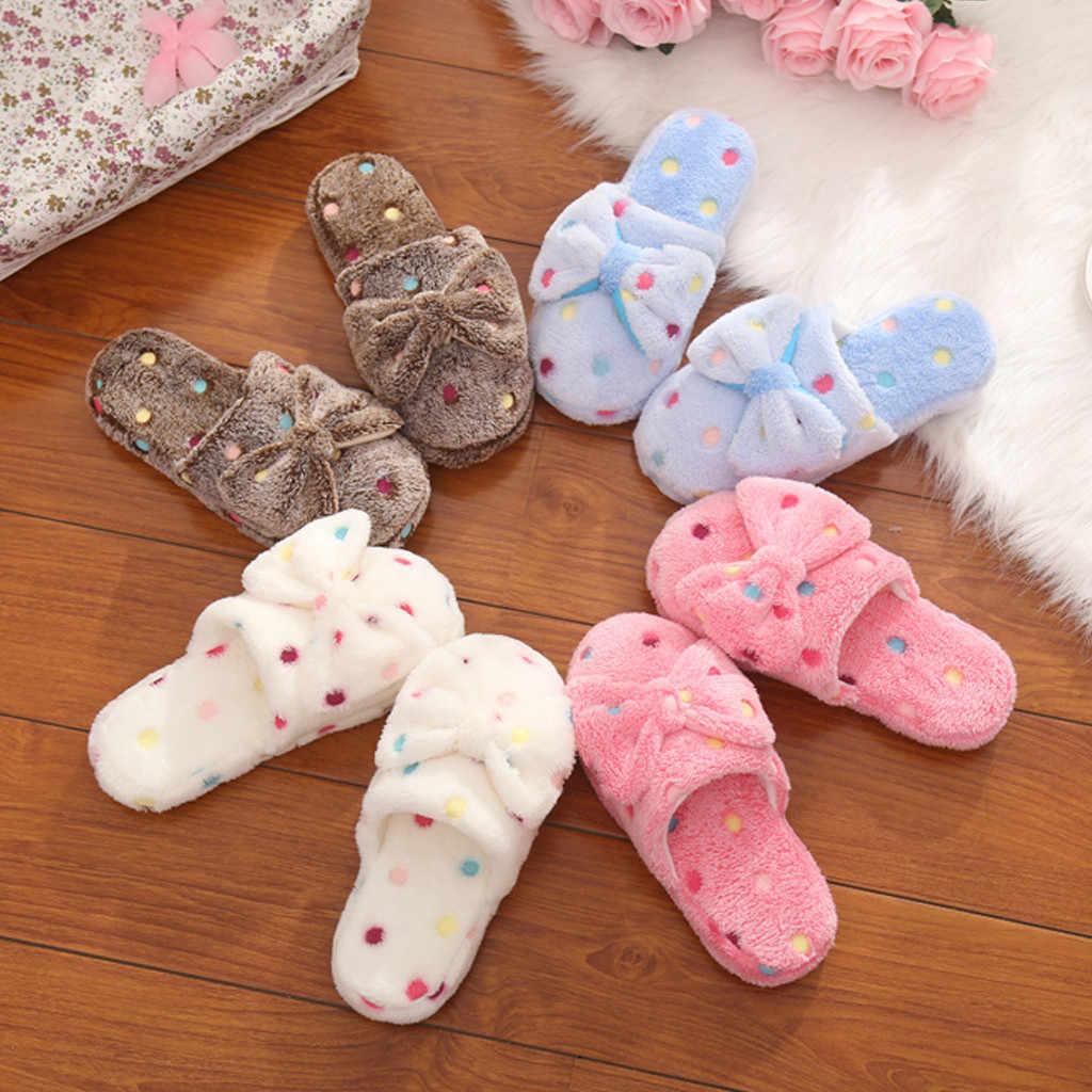 รองเท้าแตะสตรีโบว์รองเท้าแตะผ้าฝ้ายผู้หญิงฤดูหนาวน่ารักฤดูหนาวในร่มลื่นรองเท้า Chaussures Femme Pantoufles Femme