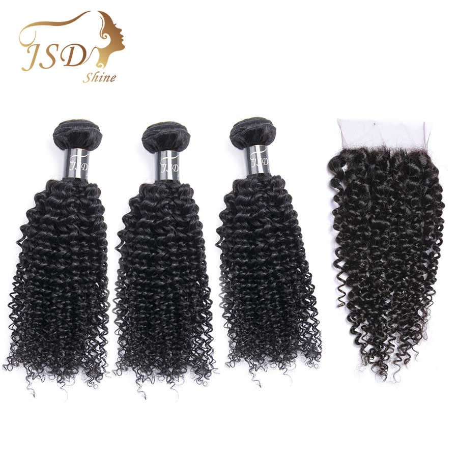 JSDShine Brazilian Kinky Curly Hair Weave Bundles With Closure Natural Color Human Hair Bundles With Lace Closure Non Remy