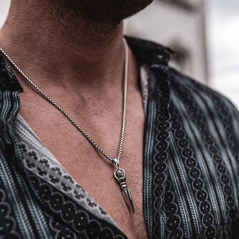 Men Stainless Steel Phurba Kilaya Pendant Necklace Tibetan Buddhism Vajrayana Buddhist Vajra Dorje Dagger Amulet Protection 24″