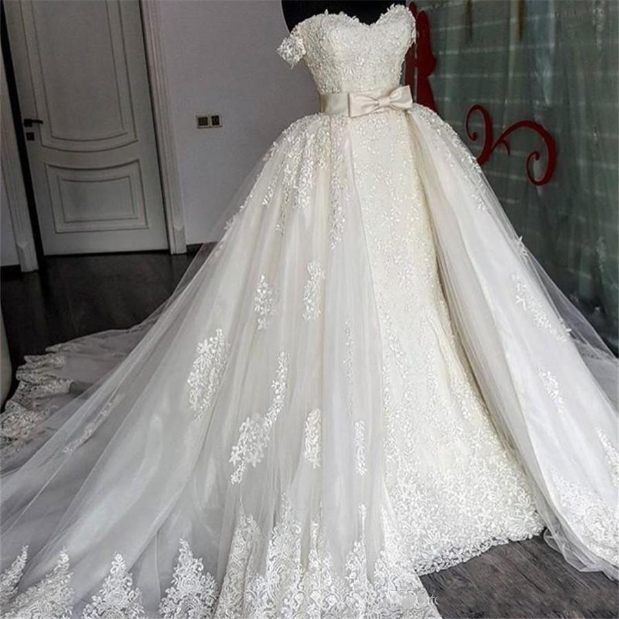 Weetheart Lace Mermaid Wedding Dresses Removable Train Applique Lace Bridal Gowns Detachable Train Wedding Gowns Vestido Novia