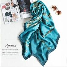 2020 New Women 100% Pure Silk Scarf Designer Van Gogh Oil Painting Tree Silk Sha