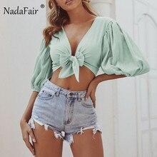 Nadafair Half Sleeve Women Summer Blouse V Neck Pure Tip Wrap Top Puff Sleeve Crop Top Short