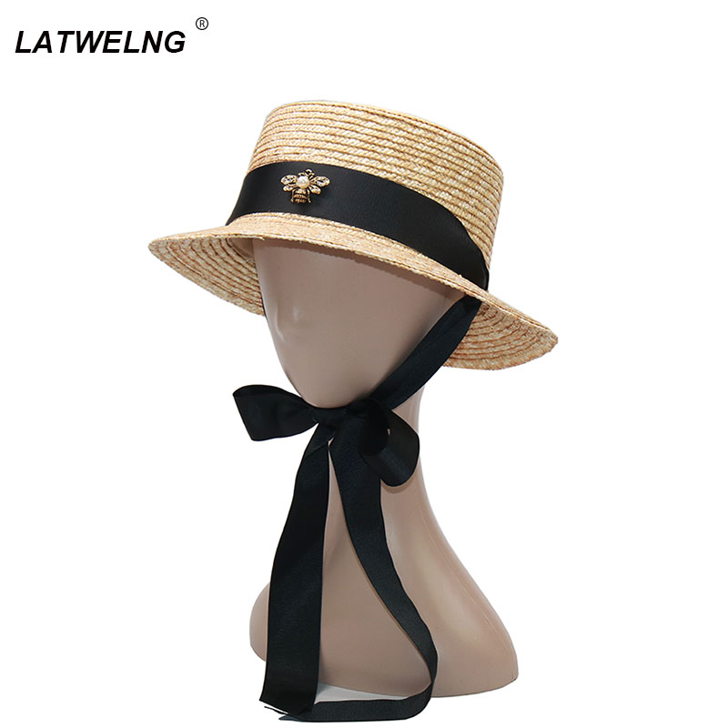 New Fashion Bee Long Ribbon Girls Sun Hats Women Summer Straw Beach Hats Parent-child Hat Children Visor Cap Wholesale NH818