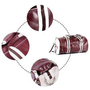 Image 3 - New Men Soft Leather Barrel Travel Bag Fashion High Capacity Bag For Men Waterproof Shoulder Luggage Bolsa Deporte Duffel Bag