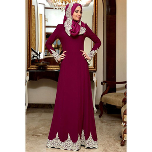 Image 3 - Vintage Muslim Dress Women Slim Fit Long Sleeve Maxi Hijab Dresses Islamic Clothing Big Swing A line Abaya Dress Dubai Kimono