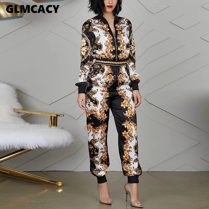 Women Casual V-neck Print Long Sleeve Jumpsuits Autumn Streetwear Loose Waist Ankle-length Pants Women Fashion Jumpsuits
