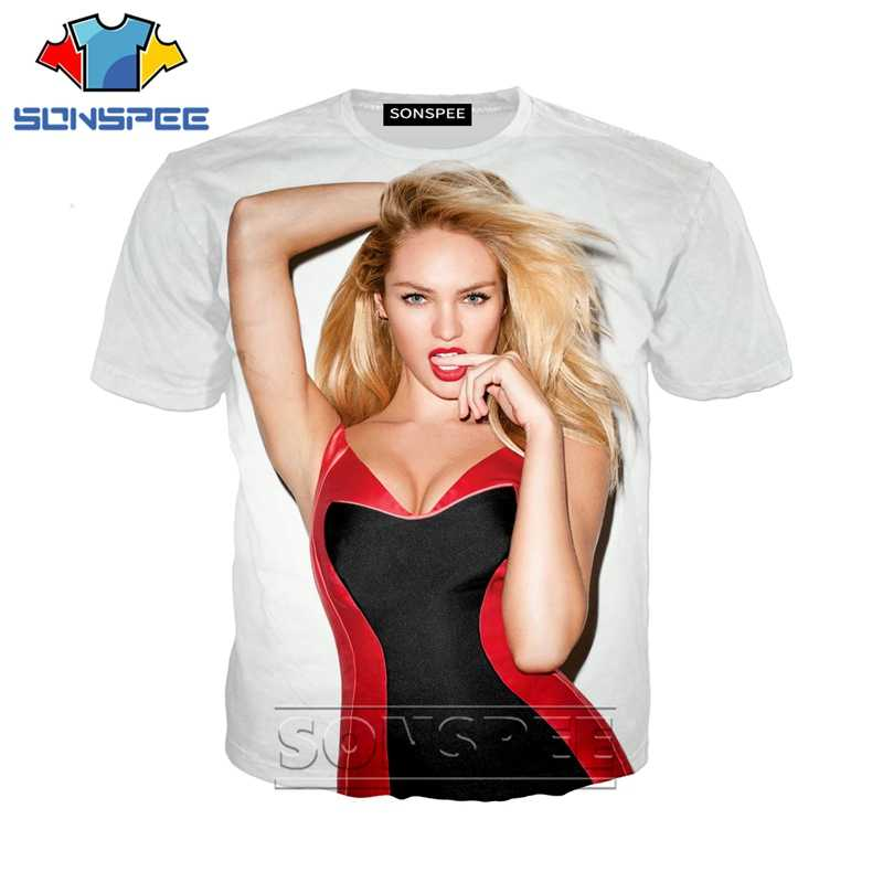 Anime 3d print game t shirt streetwear Candice Swanepoel Model men Women fashion t-shirt Harajuku kids shirts homme tshirt A220