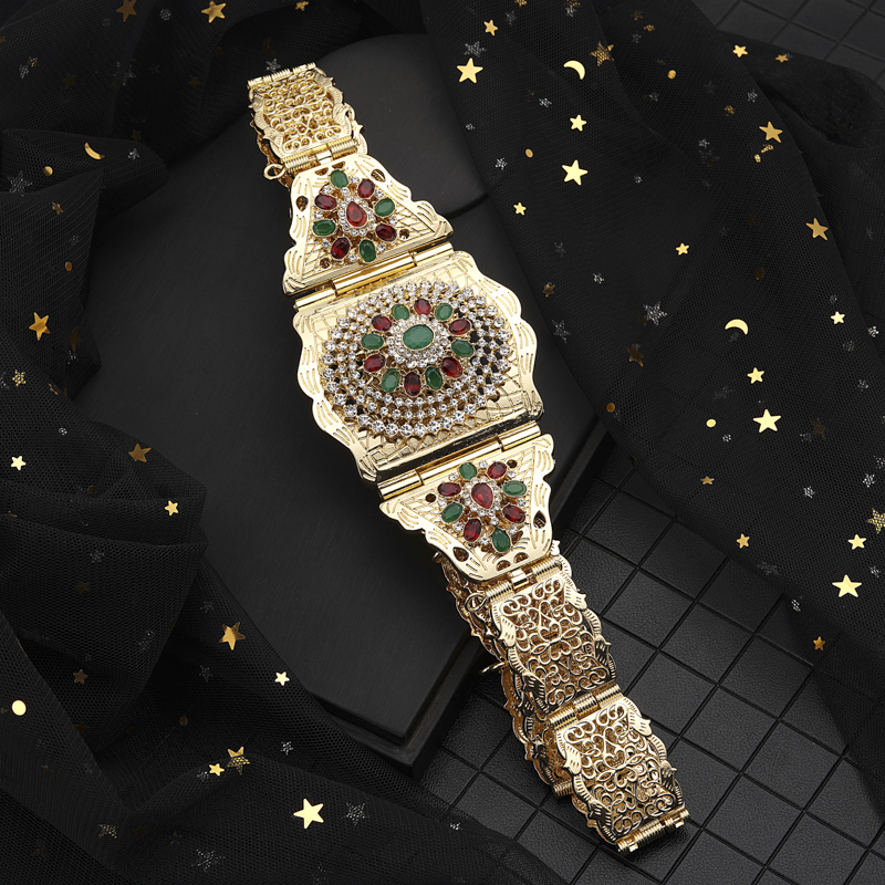 New Moroccan Chic Caftan Belt For Women Luxury Birdal Wasit Band  With Colorful Rhinestone Arabic Gold BeltsBody Jewelry
