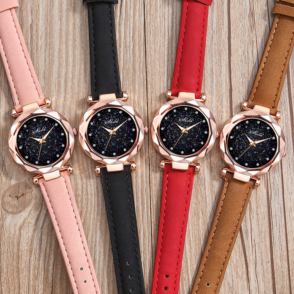 Rhinestone Index Starry Sky Round Dial Faux Leather Band Lady Quartz Wrist Watch Ladies Dress Watches Gift Luxury  Christmas Gif