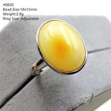 Anillo de piedra preciosa ajustable de ámbar amarillo Natural para mujer, compromiso de boda, Plata de Ley 925 AAAAA