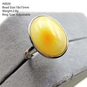 Image 1 - Natural Yellow Amber Adjustable Ring Gemstone Stone For Woman Man Wedding Engagement 925 Sterling Silver AAAAA