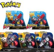 Pokemon 1 pçs genuíno tomy eua versão pokemon pikachu mestre bola elf bola cinto conjunto telescópica crianças brinquedos presentes de natal