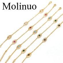 цены на Molinuo multicolor lucky eye shape cz bracelet jewelry simple bracelet gold jewelry beauty jewelry 2019  в интернет-магазинах