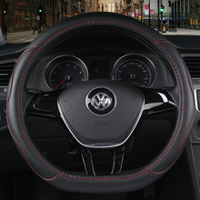 KKYSYELVA  leather steering wheel cover available in all seasons for round and D-type 38cm size steering wheel cover
