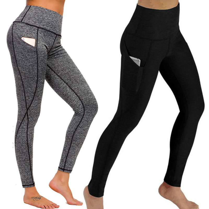 High Waist Fitness Pants  European And American Pocket Tight  Hot Selling Solid High Ankle-Length Casual Womens Leggings