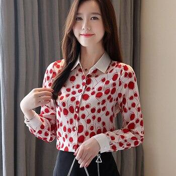Korean Fashion Chiffon Women Blouses Dot Long Sleeve White Women Shirts Plus Size XXL Blusas Femininas Elegante Ladies Tops korean fashion chiffon women blouses batwing sleeve white women shirts plus size xxl blusas femininas elegante ladies tops