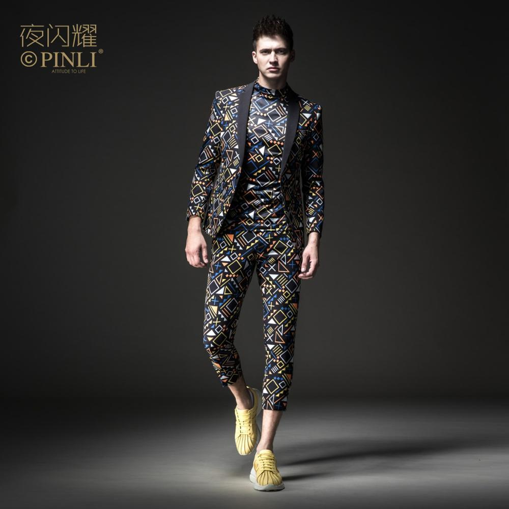 Free Shipping men's male man casual Night shines 2019 spring suit jacket BY183106061 and cropped trousers BY183115063 2 pcs set 1