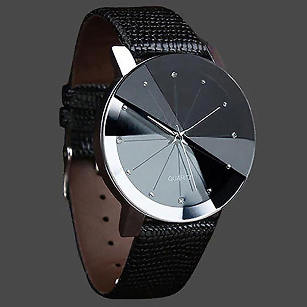 Fashion Luxury Men Stainless Steel Watch Quartz Clock Sport Faux Leather Band Wrist Watch