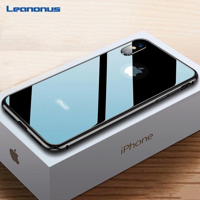 Ultra cienki 9H szkło hartowane etui na iPhone 7 8 Plus XS obudowa metalowa rama Anti knock pokrywa dla iPhone X XR XS Max 7 8 Plus Coque
