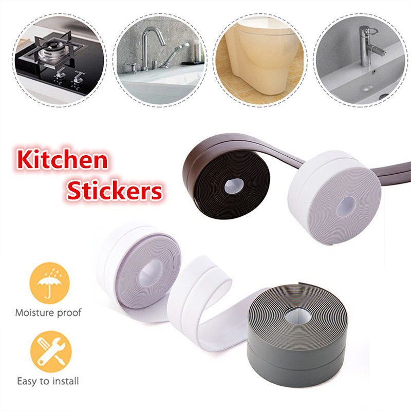 Self Adhesive Kitchen Ceramic Sticker Waterproof Anti-moisture PVC Sticker Bathroom Wall Corner Line Sink Stickers 3.2m*3.8cm(China)