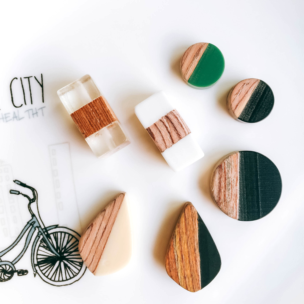 ZEROUP Resin Wood Eardrop Round Rectangle Beads Earring Pendant Necklace Charms Supplies For Jewelry Finding 4pcs