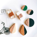 Zeroupp круглые прямоугольные бусины из смолы и дерева, подвеска для сережек, ожерелье, амулеты, принадлежности для ювелирных изделий, 4 шт.