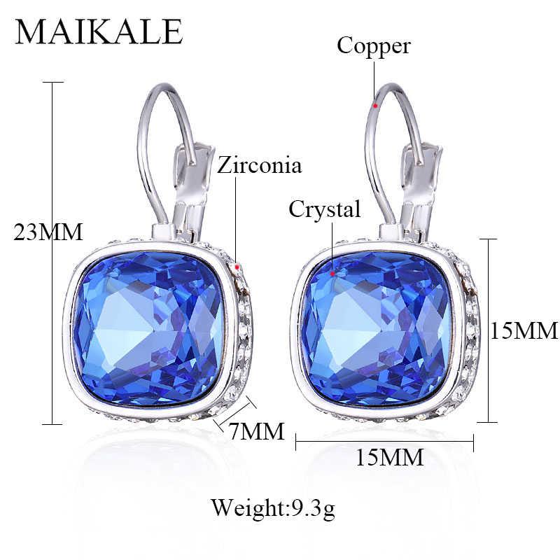 MAIKALE klasyczne czerwone niebieskie kolczyki wiszące z austriackimi kryształkami serce/kwadratowe szklane srebrne kolczyki dla kobiet Party biżuteria kobiece prezenty