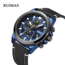 RUIMAS Top Mens Quartz Watch Chronograph Army Military Luxury Brand WristWatch Male Clock Watches for Men Relogio Masculino Blue