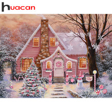 Huacan Lodge Diamond Painting Winter Landscape Full Square New Arrival Snow Mosaic Decoration
