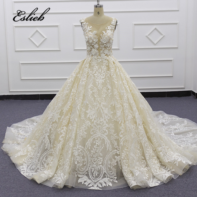 Eslieb 3d Flower Crystal Lace Wedding Dresses Nude Tulle Backless Wedding Dress 2020 Ball Gown Vestido De Noiva Custom Made