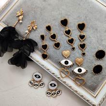Женские богемные серьги flatfoosie модные черные в форме сердца