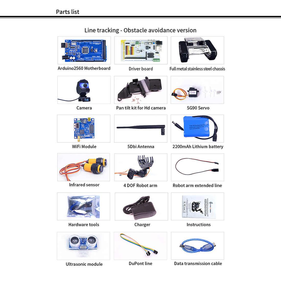 Programmabile TH WiFi Bluetooth FPV Serbatoio Robot Car Kit con il Braccio per Arduino MEGA - Line Patrol Obstacle Avoidance Versione di grandi dimensioni