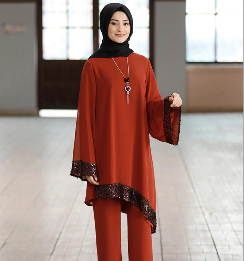 Elegant two pieces muslim sets Worship service robe suits sequined glossy Abaya Robe Tunic Jubah dubai Ramadan robes with lining Women Women's Abaya Women's Clothings cb5feb1b7314637725a2e7: black suits|blue suits|light coffe suits|red suits|the scarf|wine red suits