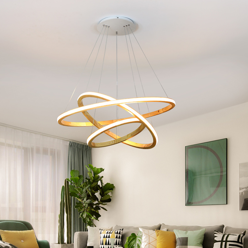 Nordic LED Air Ring Solid Wood Pendant Lights Lighting Modern Living Room Restaurant Bedroom Hanging Light Fixtures Luminarie|Pendant Lights| |  - title=
