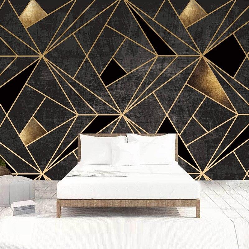 3D настенная бумага на заказ, домашний декор, черная креативная абстрактная Геометрическая картина, Fresco, гостиная, ТВ, Фотофон, настенная бумага