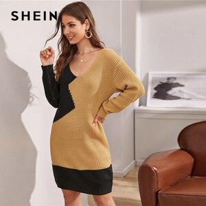 Image 3 - שיין צבעים V צוואר שני טון מקרית Loose סוודר שמלה ללא חגורת נשים 2019 סתיו ארוך שרוול קצר ישר שמלות