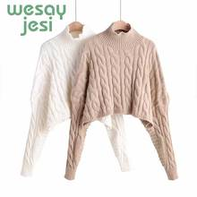 Vintage Sweater women Autumn knitted sweater Women elegant  2019 autumn Pullover Female Turtleneck long-sleeve outwear