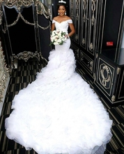 Off the Shoulder Beautiful Mermaid Wedding Dresses 2020 African Lace Bodice Long Train Bridal Gowns Custom Made